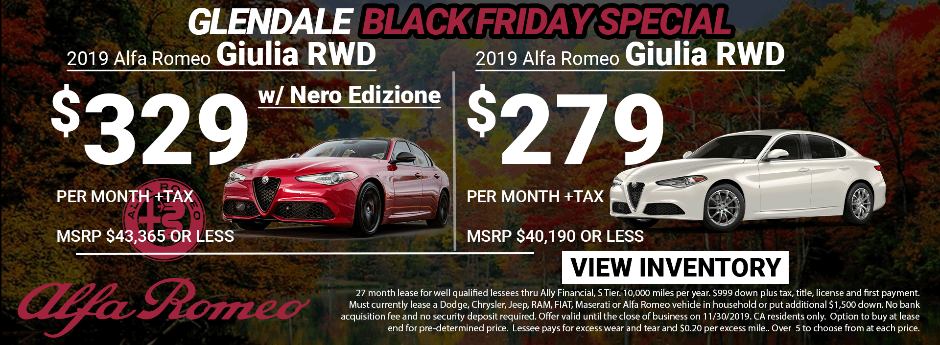 Alfa Romeo Giulia Black Friday Lease Special