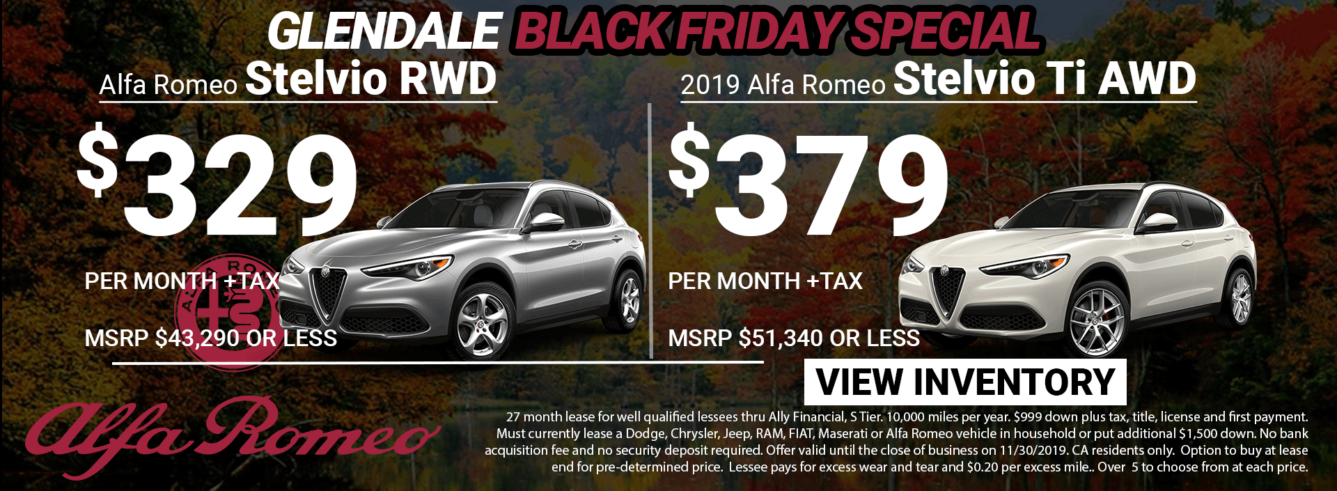 Alfa Romeo Stelvio Black Friday Lease Special