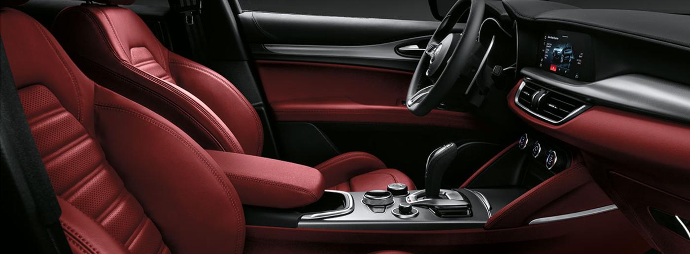 2020 Red Alfa Romeo Stelvio Interior