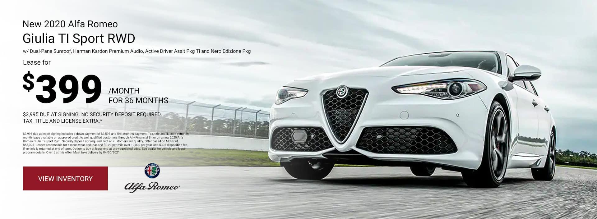 New 2020 Alfa Romeo Giulia Ti Sport RWD w/ Dual-Pane Sunroof, Harman Kardon Premium Audio, Active Driver Assit Pkg Ti and Nero Edizione Pkg