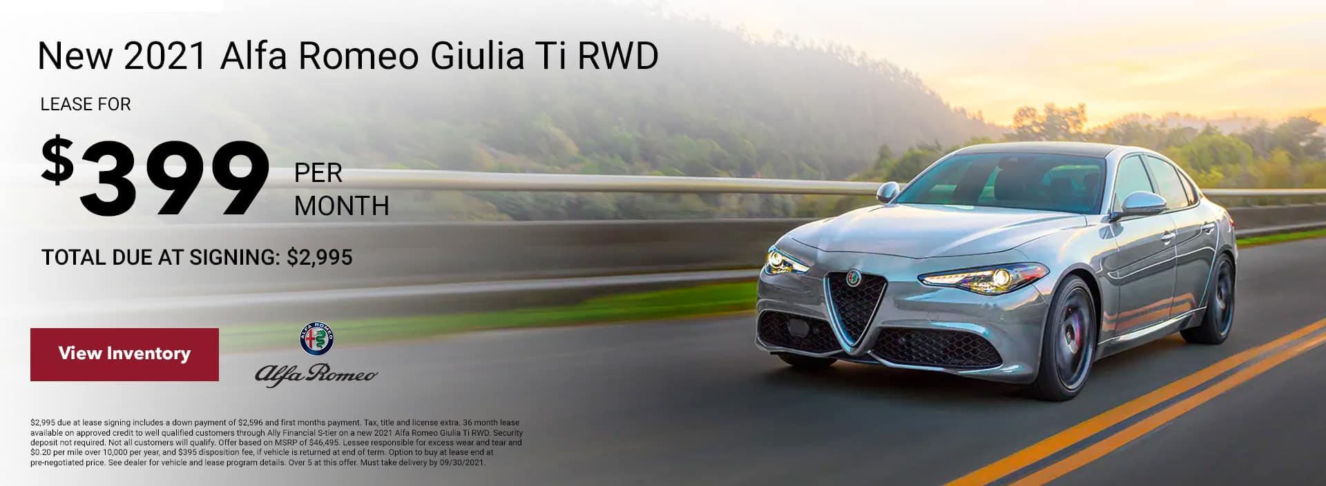 New 2021 Alfa Romeo Giulia Ti RWD Subheadline: Total due at signing: $2,995 $399/mo