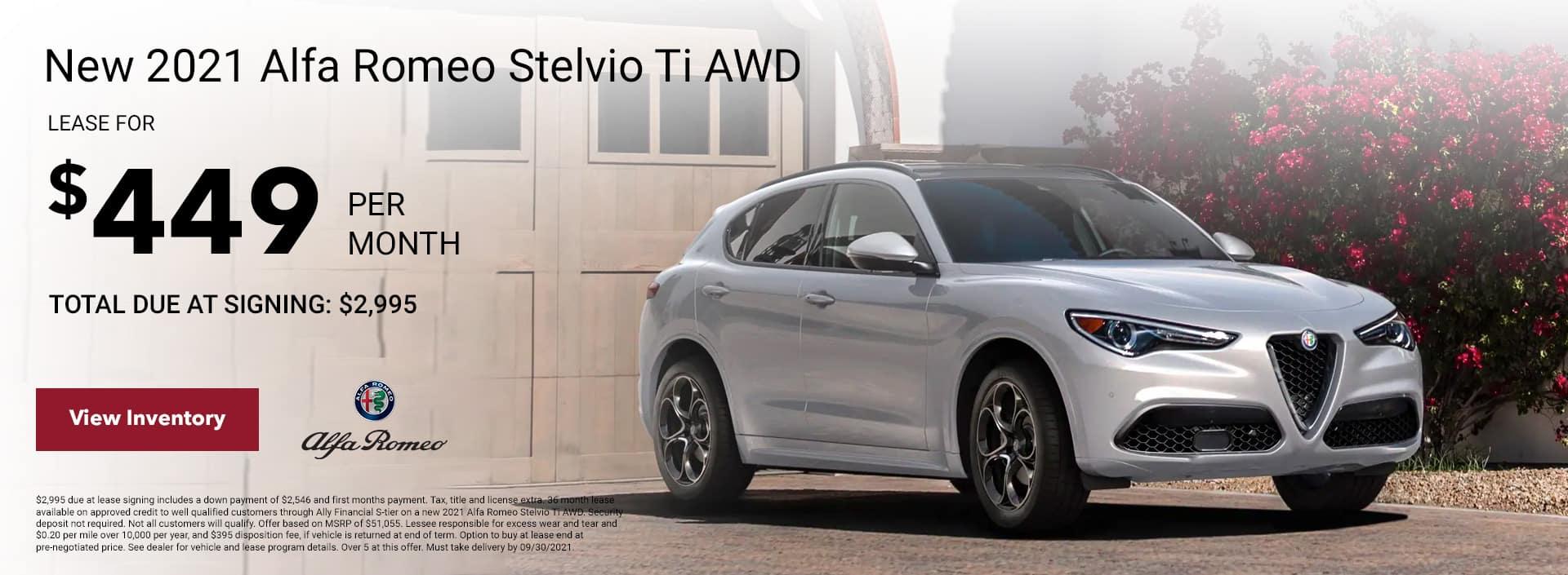 New 2021 Alfa Romeo Stelvio Ti AWD Subheadline: Total due at signing: $2,995 $449/mo