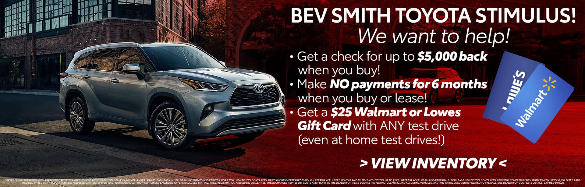 We want to help you with our Stimulus offer at Bev Smith Toyota in Fort Pierce, FL