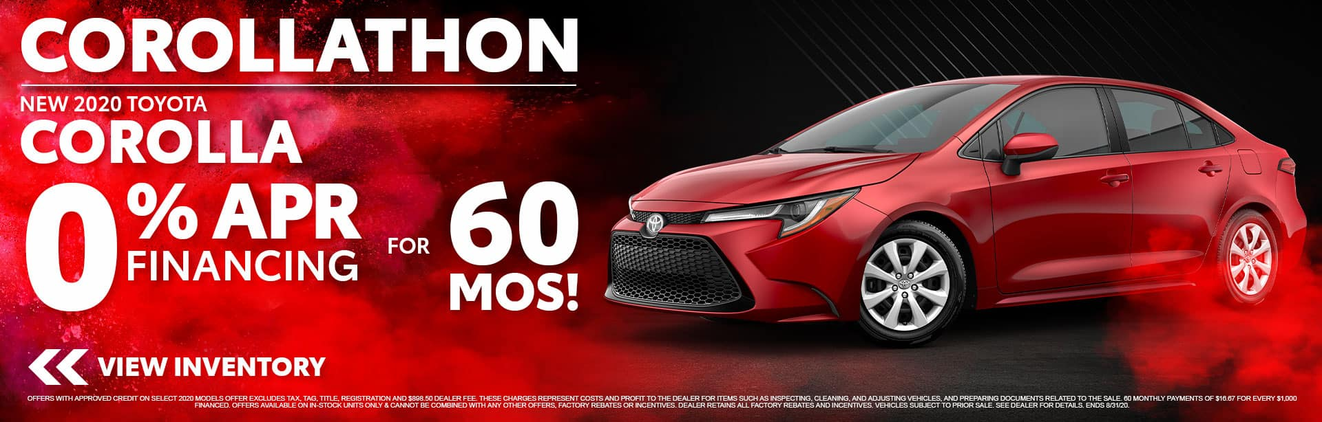 New 2020 Toyota Corolla with 0% APR Financing for 60 Months at Bev Smith Toyota!