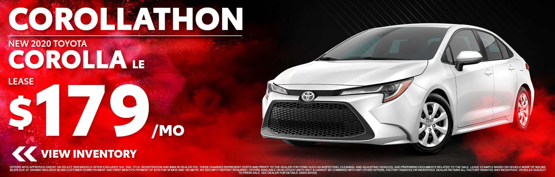 Lease a New 2020 Toyota Corolla LE for $179/mo at Bev Smith Toyota!