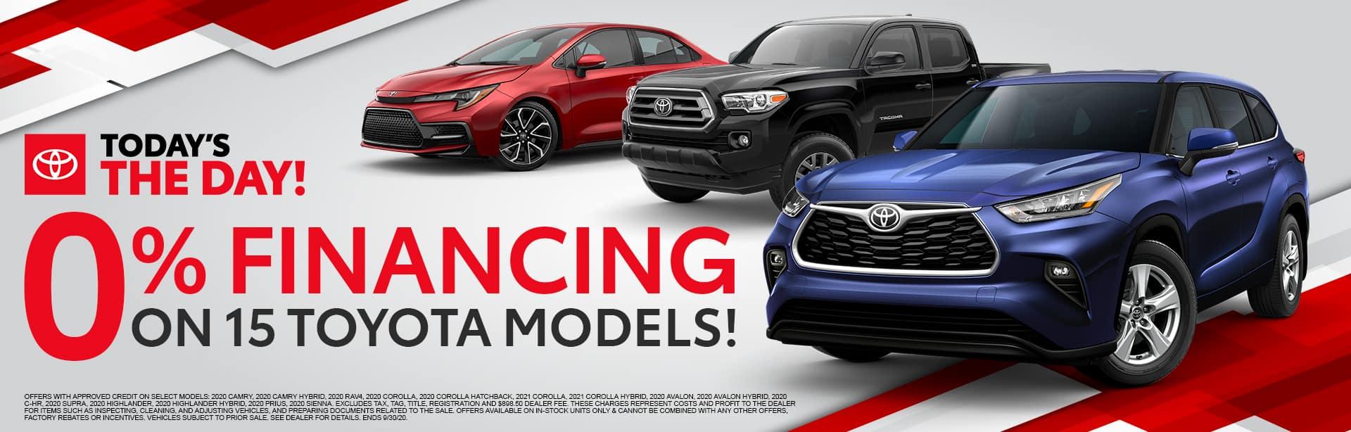 0% Financing on 15 Toyota Models at Bev Smith Toyota!