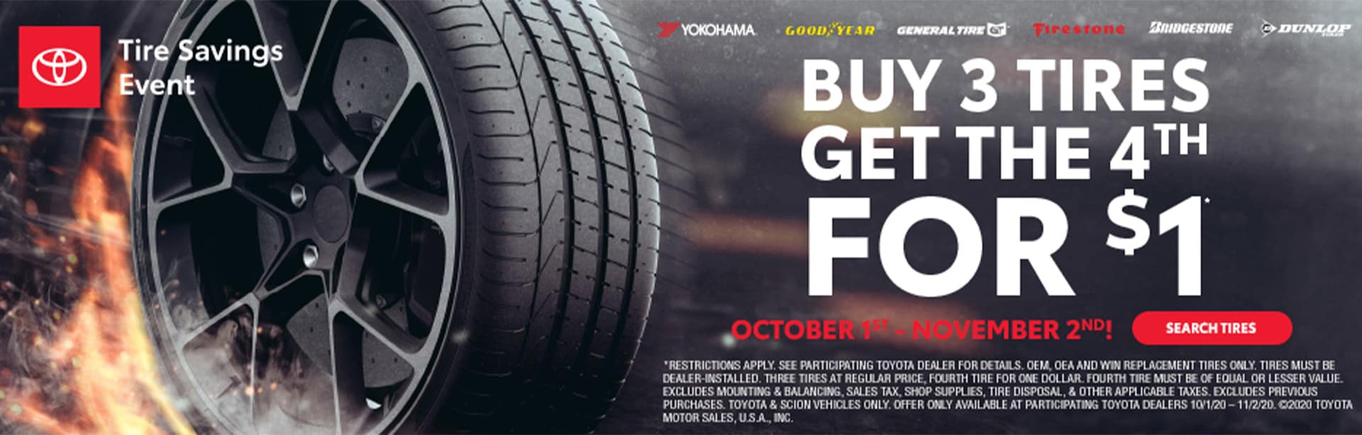Buy 3 Tires, Get the 4th for $1 at Bev Smith Toyota!