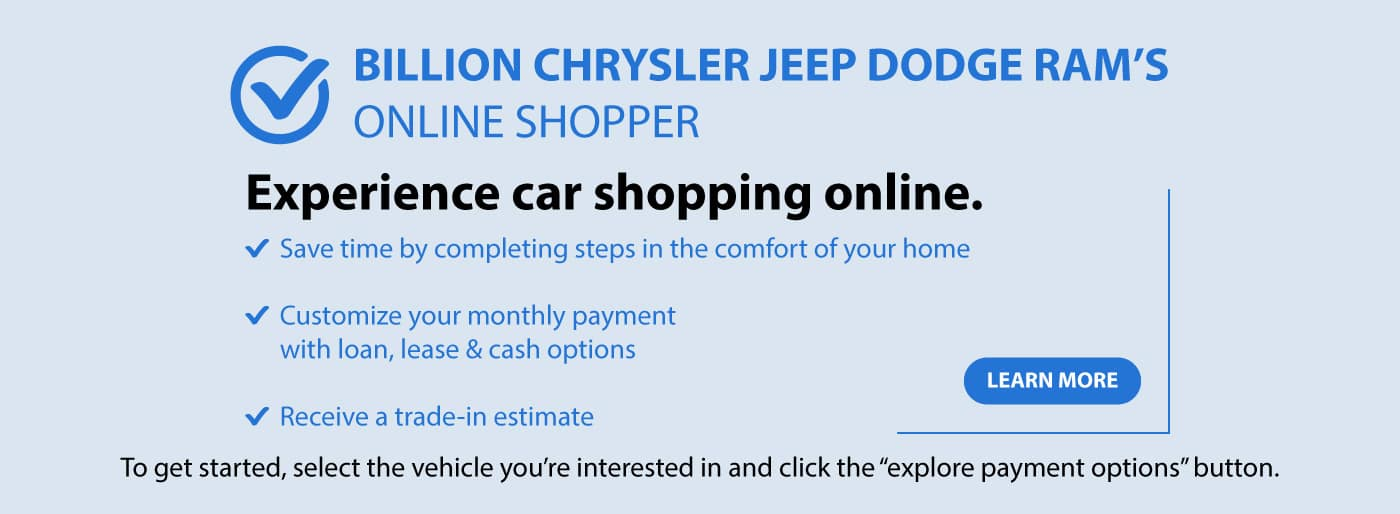 Shop online with Billion Chrysler Jeep Dodge Ram of Sioux Falls, SD