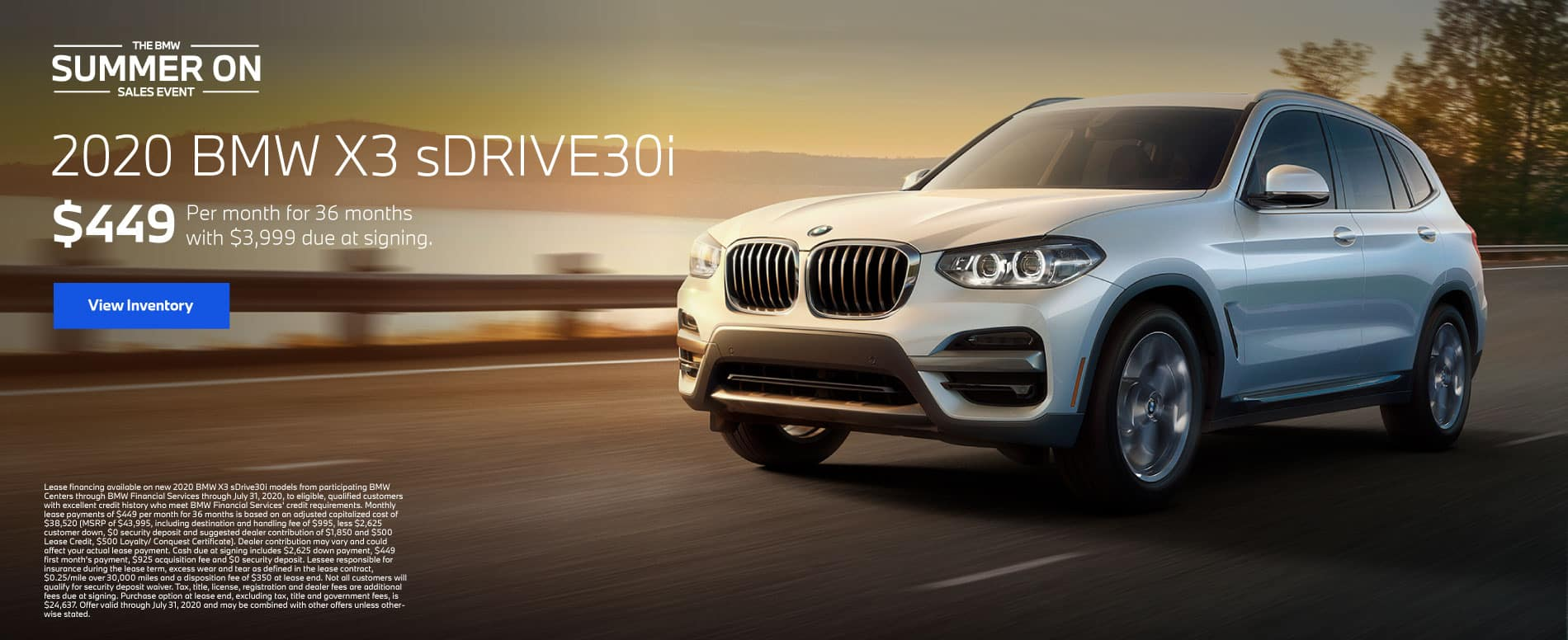 2020 BMW X3 sDrive30i $449 a month for 36 months | View Inventory