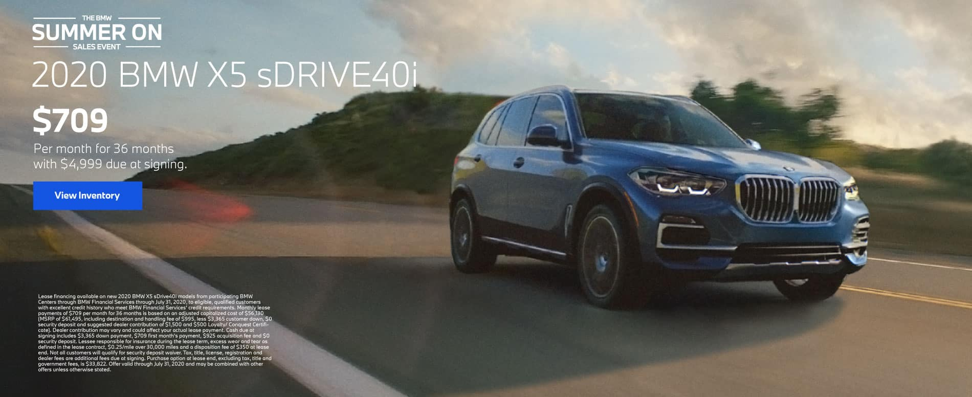 2020 BMW X5 sDrive40i $709 a month for 36 months | View Inventory