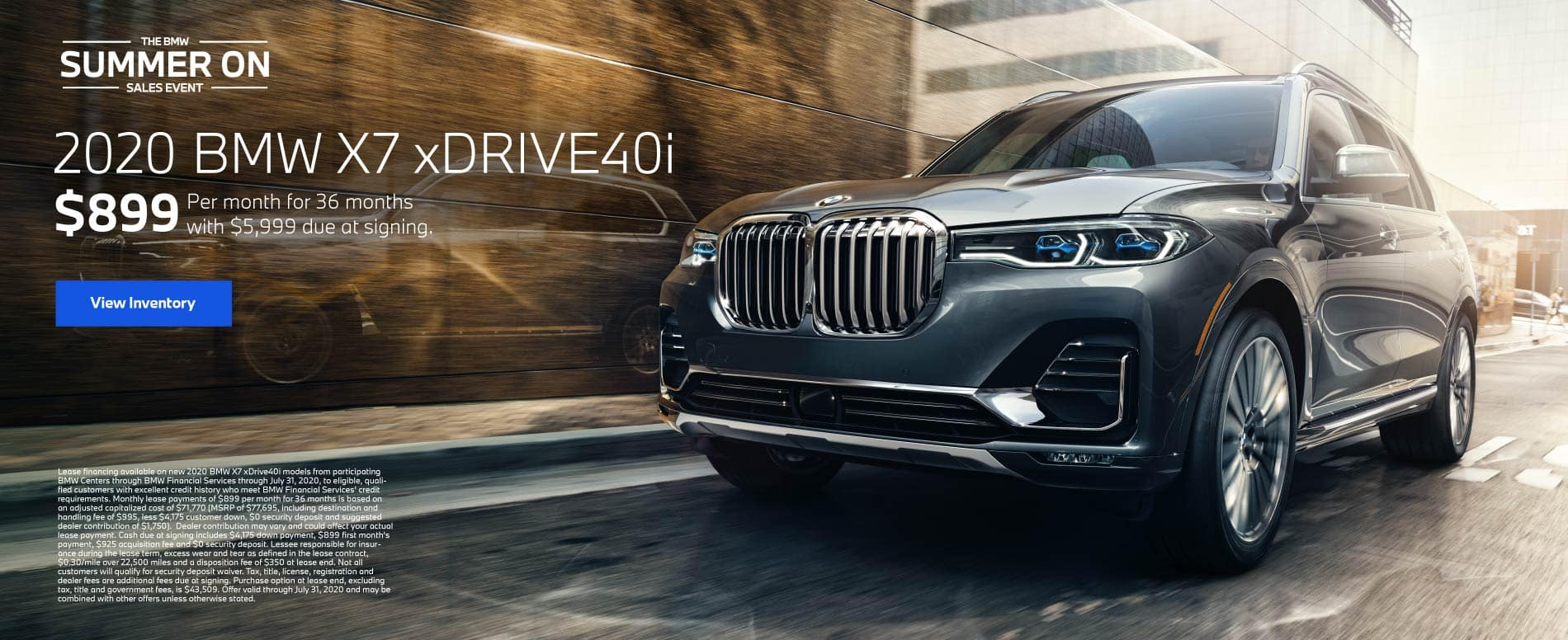 2020 BMW X7 xDrive40i $899 a month for 36 months | View Inventory