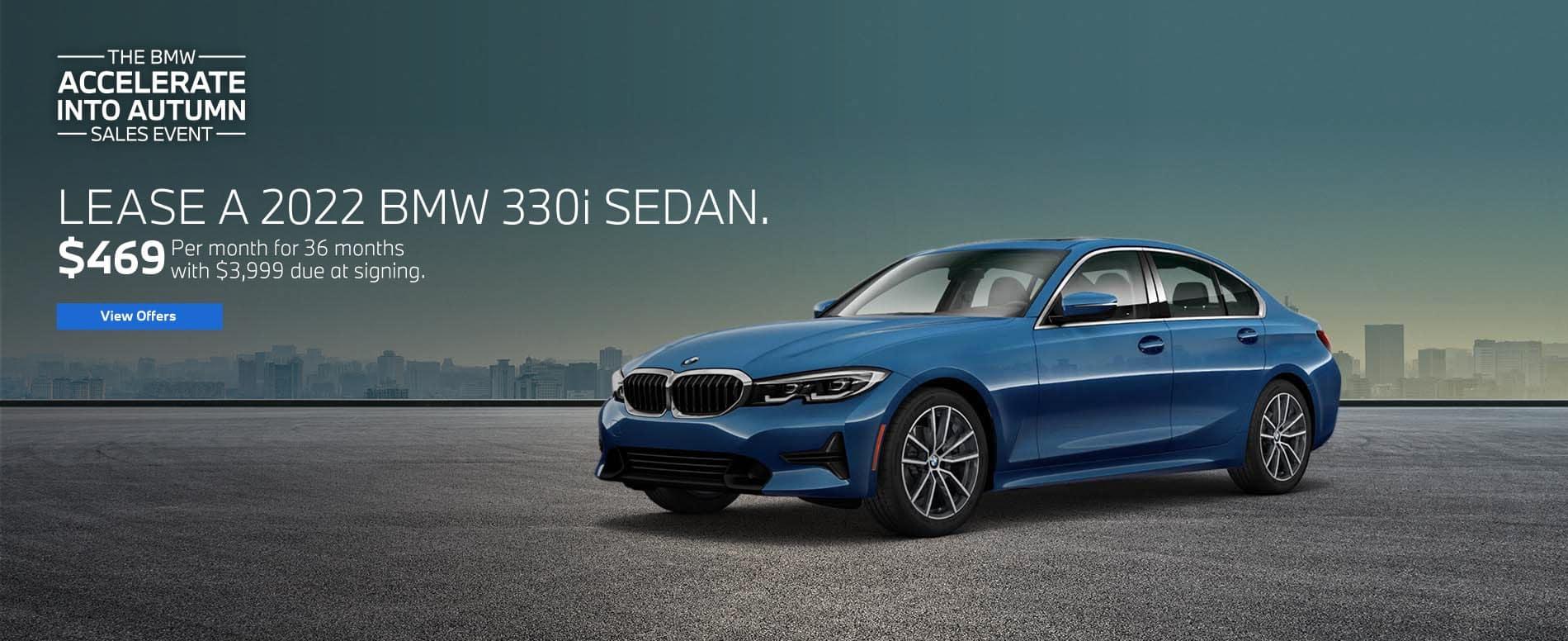 Lease a 2022 BMW 330i Sedan for $469.