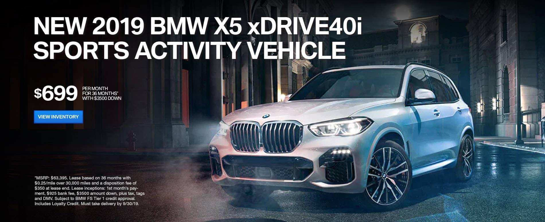2019 BMW X5 XDRIVE 40i sports activity vehicle