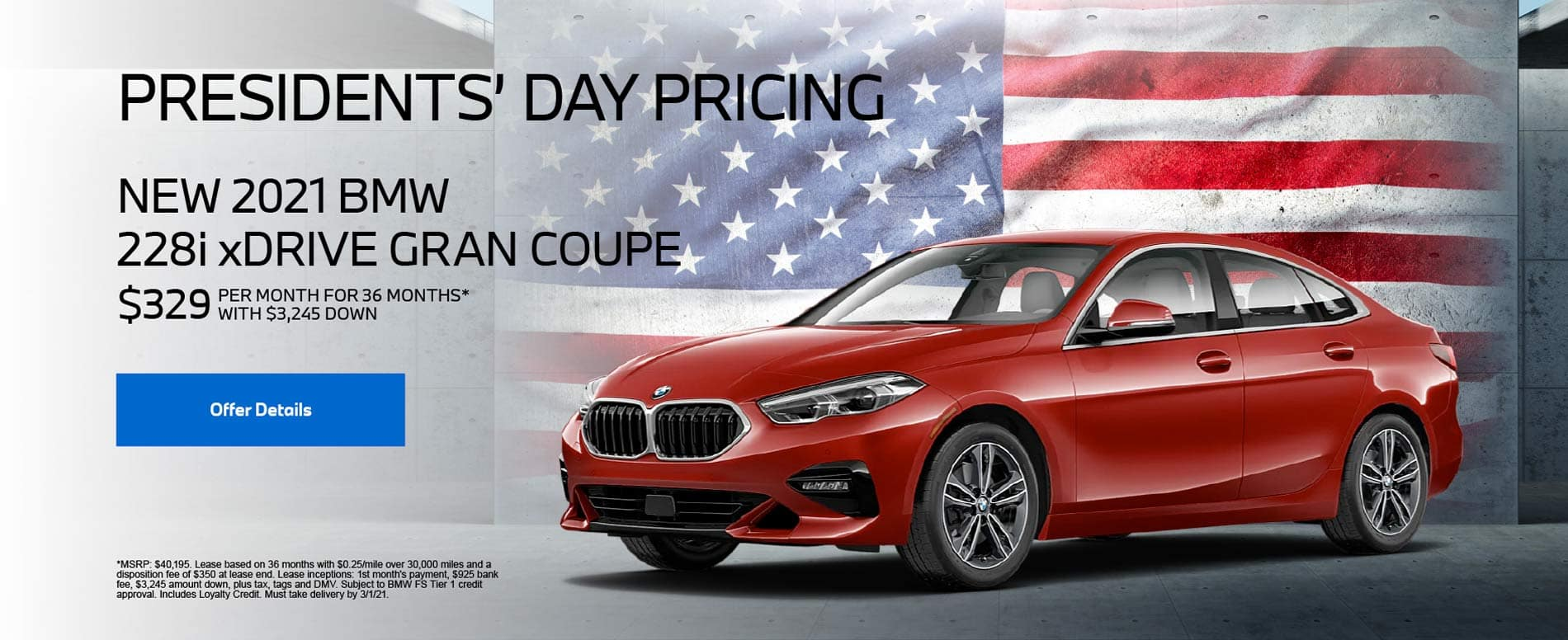 New 2021 BMW 228i xDrive Gran Coupe $329 PER MONTH FOR 36 MONTHS* WITH $3,245 DOWN