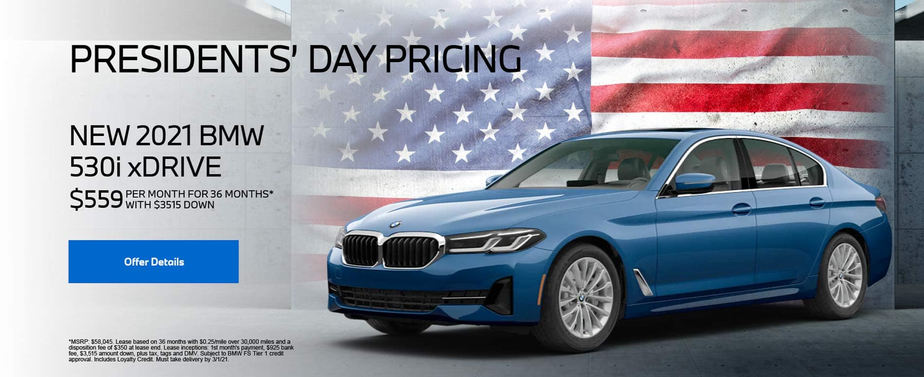 New 2021 BMW 530i xDrive $559 PER MONTH FOR 36 MONTHS* WITH $3,515 DOWN