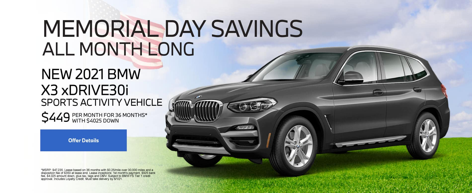 New 2021 BMW X3 $449 per month - Click for Details