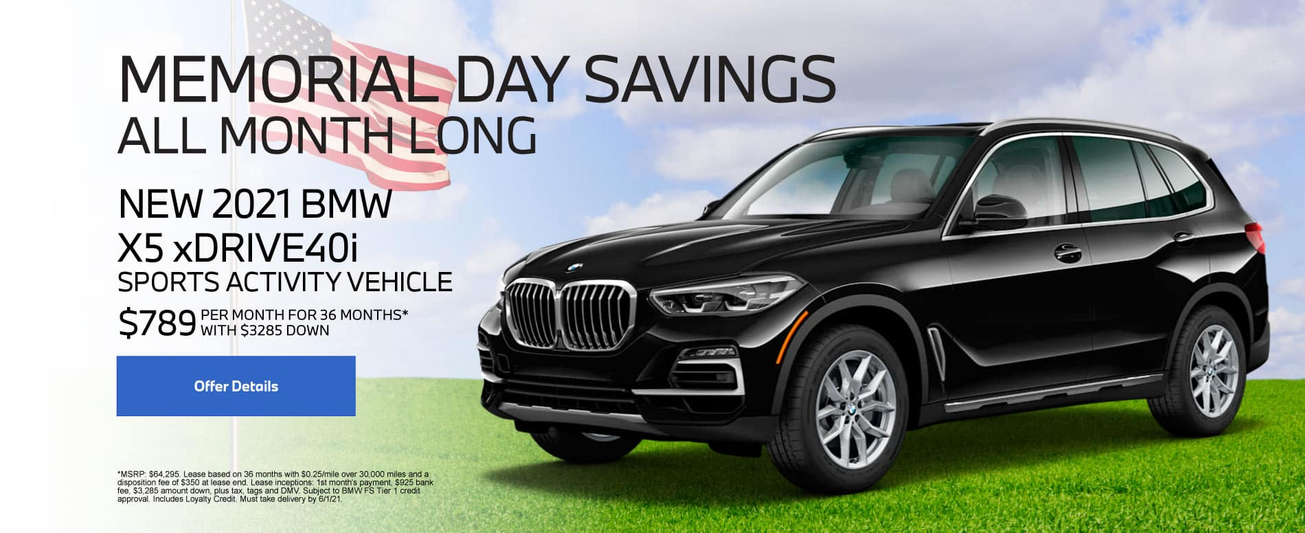New 2021 BMW X5 $789 per month - Click for Details