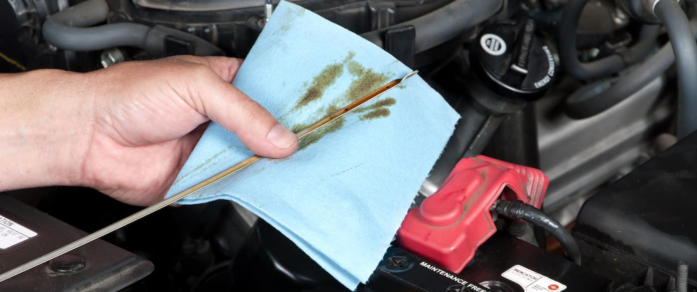 Service Tech wiping an oil dipstick during a car oil change