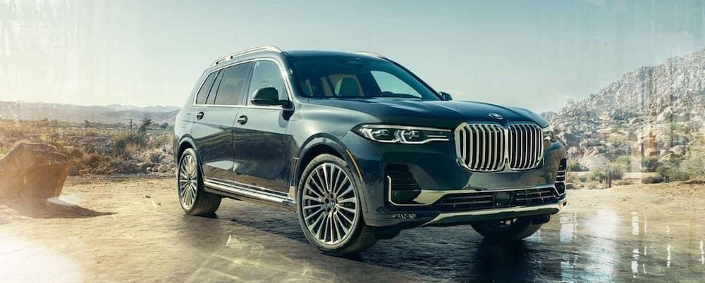 A 2020 BMW X7 parked in a desert