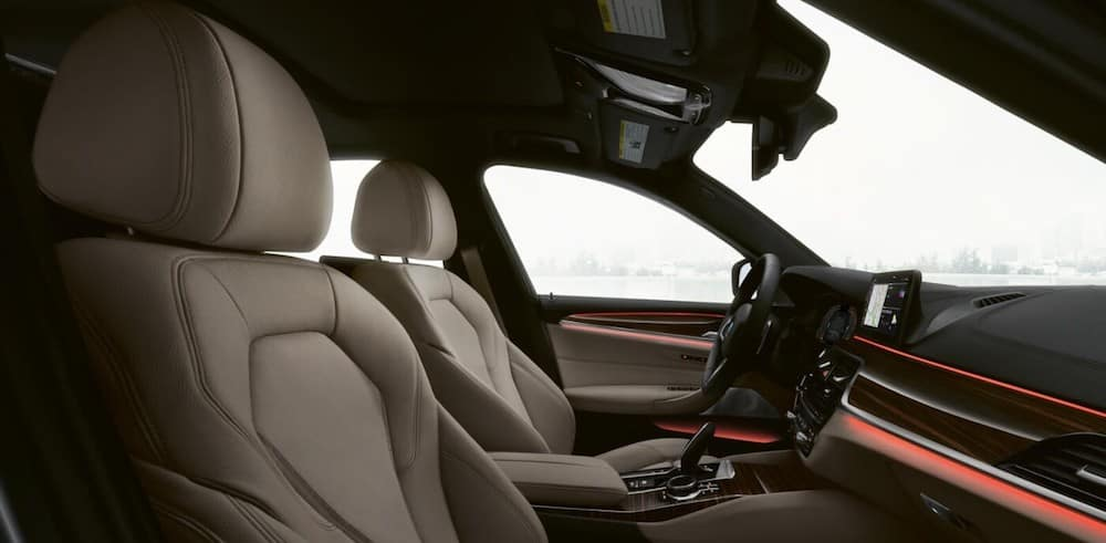 Front leather seats inside a 2020 BMW 5 Series