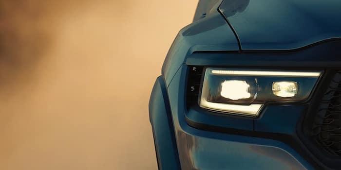 2021 RAM 1500 TRX wide fender design with LED smart beam headlamps