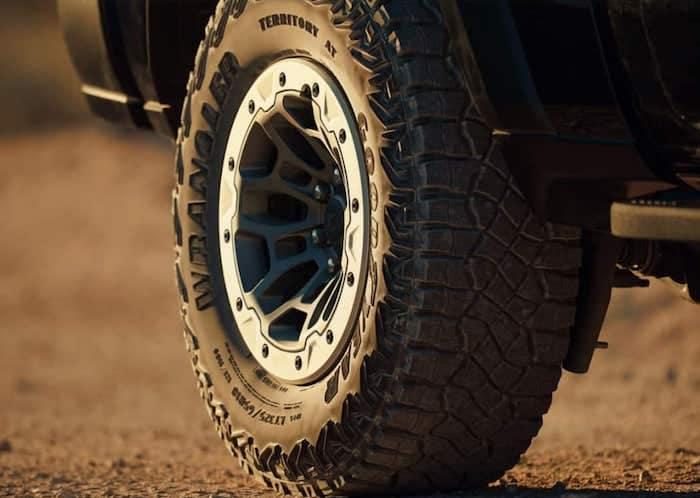 2021 RAM 1500 TRX available 35 inch Goodyear All-Terrain tires and beadlock-capable gloss black 18-inch cast aluminum wheels