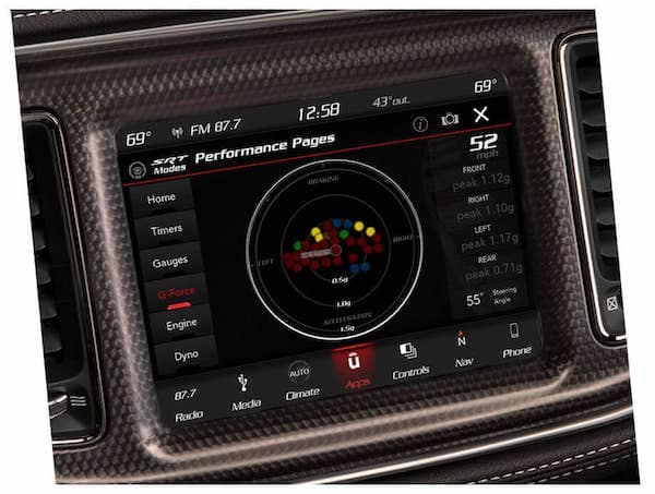 2021 Dodge Challenger g-force gauge