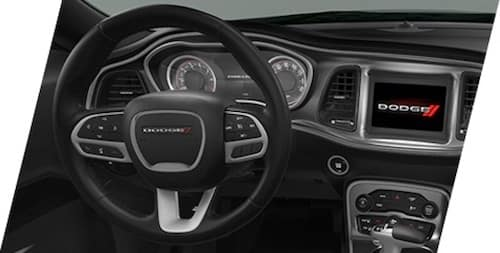 2021 Dodge Challenger leather-wrapped steering wheel with vehicle controls