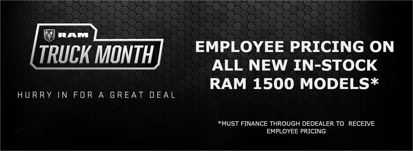 Employee Pricing on All New In Stock RAM 1500 models