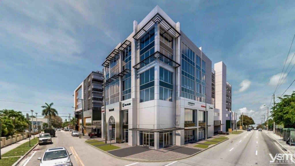 Corner Image of the new CDJR Dealership Rendering