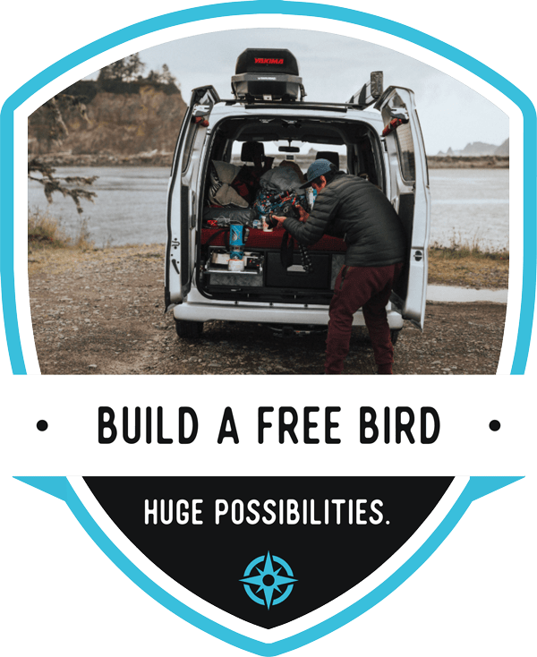 Build A Free Bird - Huge Possibilities - cta with man camping out the back of a free bird vehicle