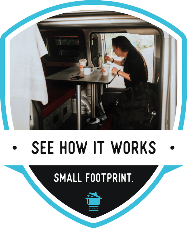 See How It Works. Small Footprint. CTA image of a woman eating at a table in the back of a freebird