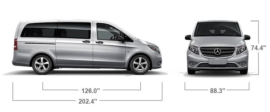 dimentions of metris compact passenger van
