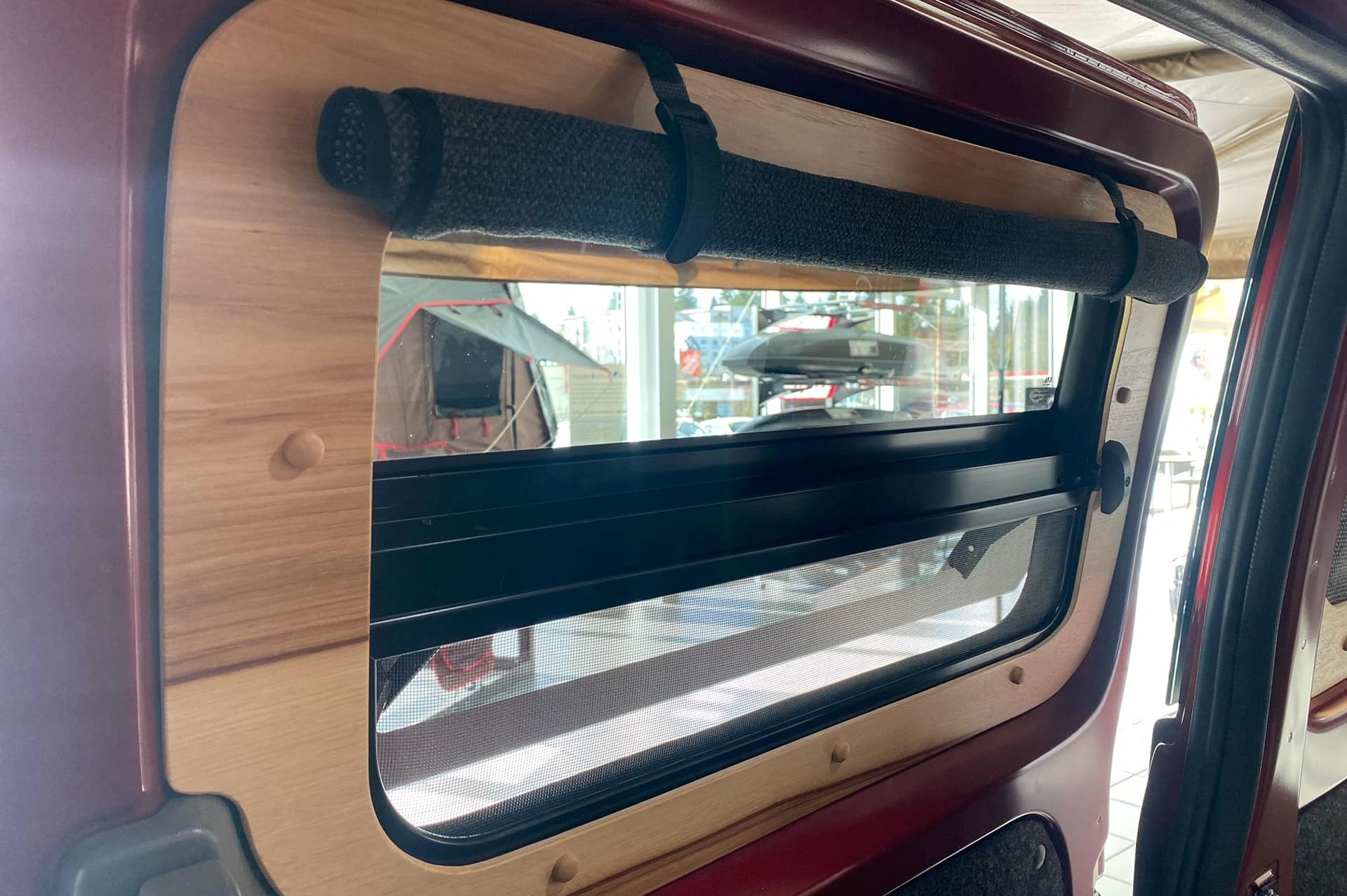 Split screen window on each sliding door