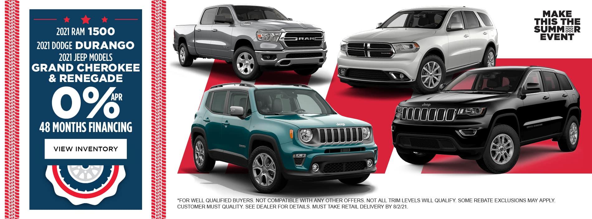 0% APR for 48 Months 2021 Dodge Durango 2021 Jeep Grand Cherokee 2021 Jeep Renegade 2021 RAM 1500