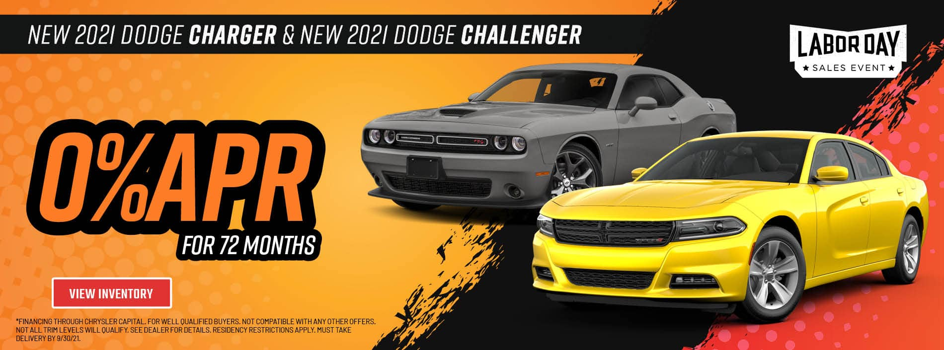 New 2021 Dodge Charger and 2021 Dodge Challenger 0% APR for 72 months