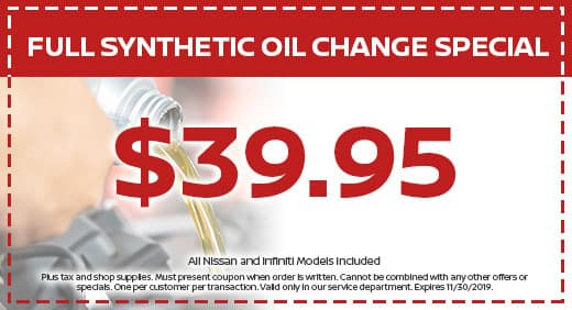 Synthetic Oil Change Coupons >> Auto Service Specials Classic Nissan Sanford Near Pinehurst