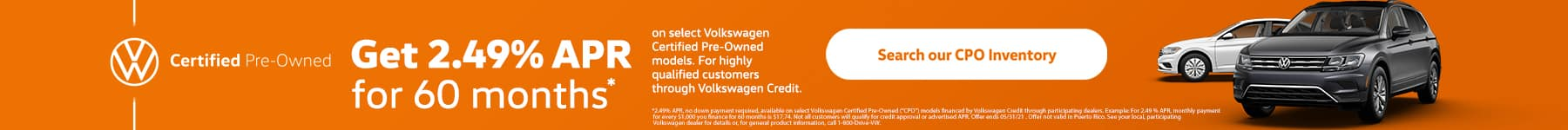 2.49% APR for 60 Months on Select VW CPO Models
