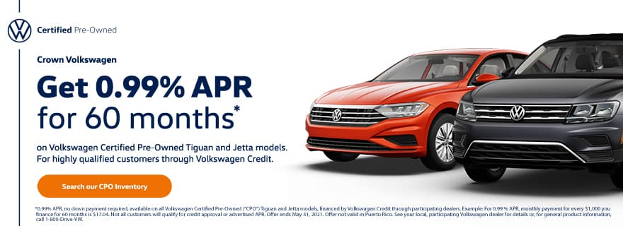 0.99% APR for 60 Months on CPO Tiguan & Jetta Models
