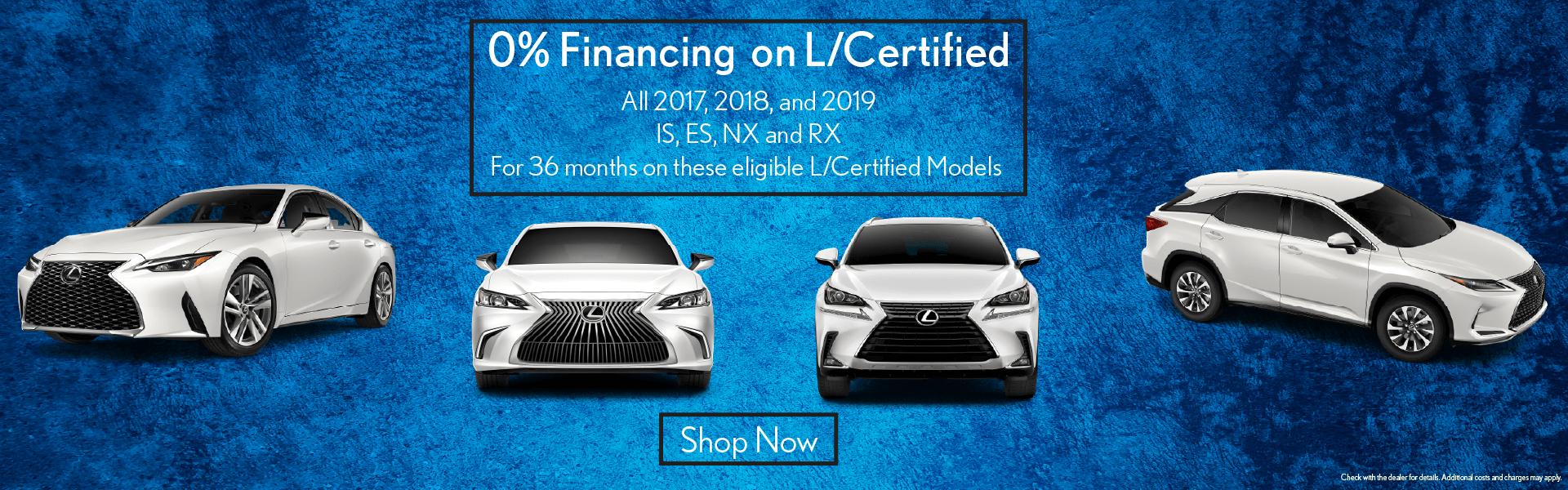 NX RX ES IS 0 & Financing L/Certified Vehicle