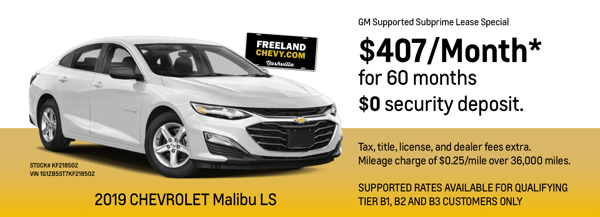 GM Supported Subprime Lease Special - 2019 Chevy Malibu LS
