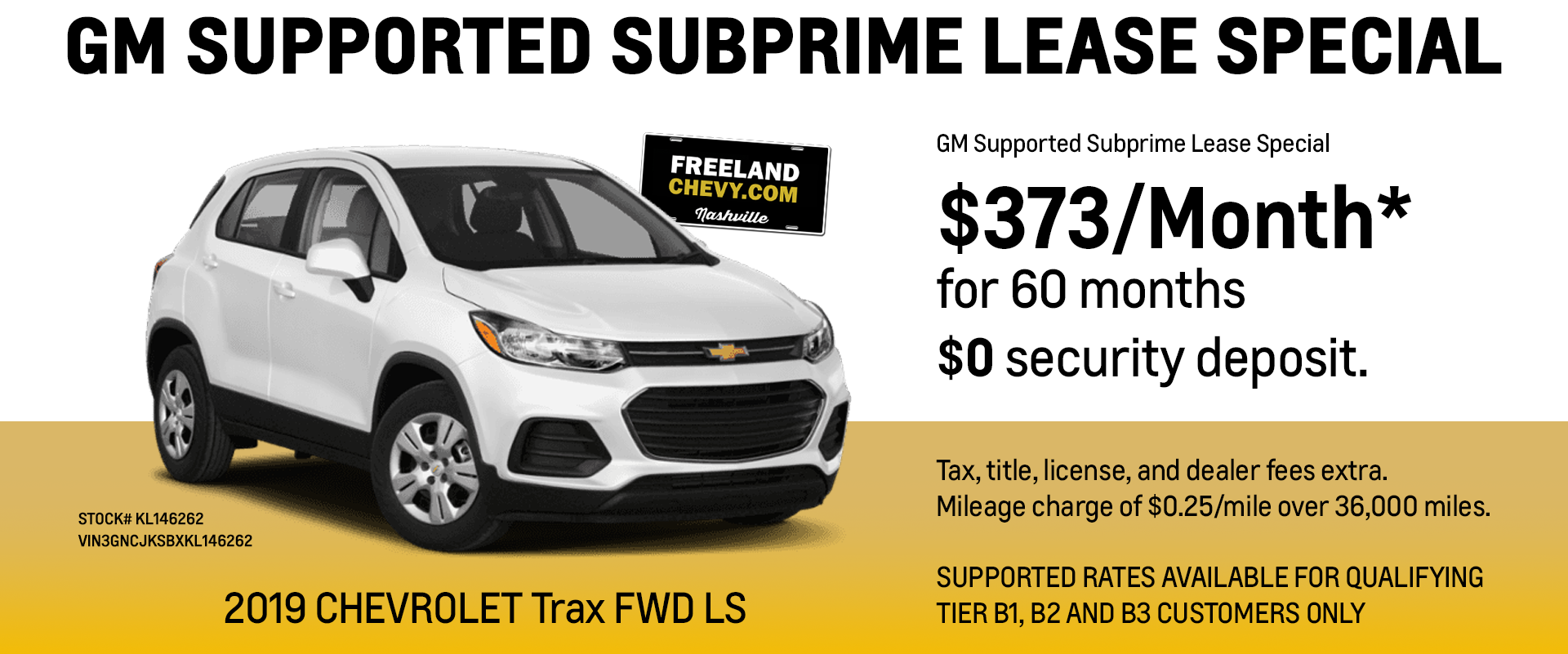 GM Supported Subprime Lease Special - 2019 Chevy Trax