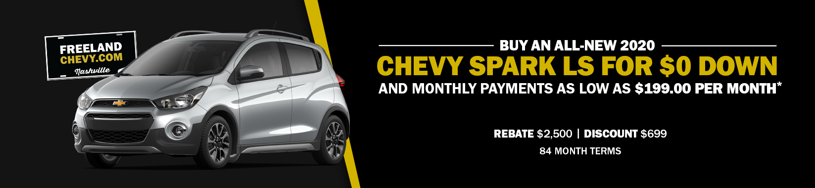 BUY AND ALL-NEW 2020 CHEVROLET SPARK FOR $0 DOWN AND MONTHLY PAYMENTS AS LOW AS $199 A MONTH!