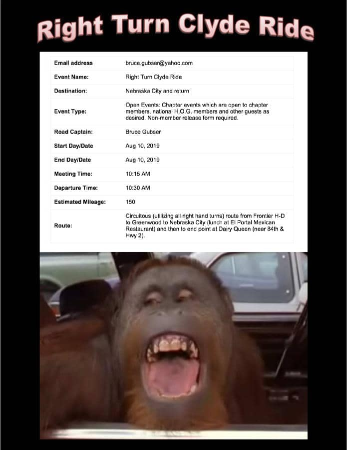 Right Turn Clyde Ride event info with a smiling chimpanzee