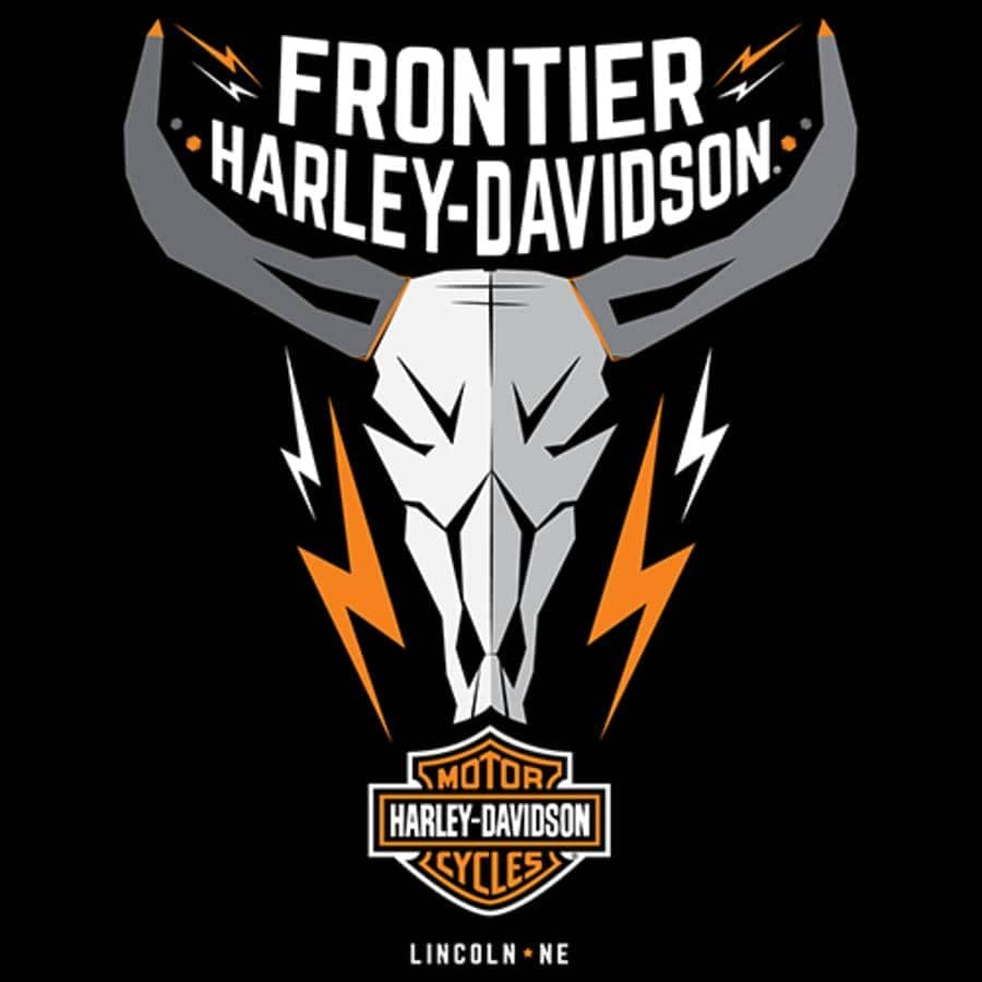 frontier harley davidson logo with bull scull