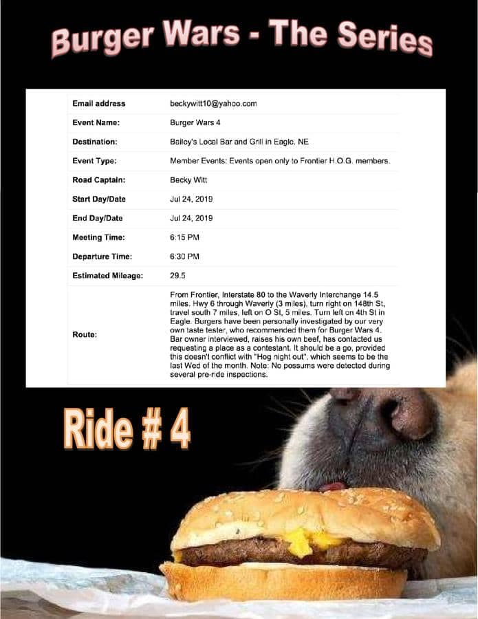 burger wars flyer with dog sniffing a burger