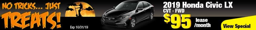 2019 Honda Civic LX FWD Lease for $95 a month for 24 months