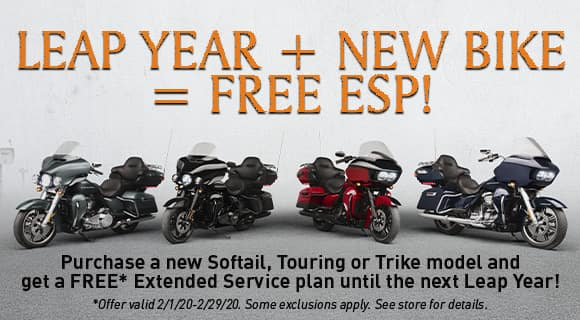 free esp with new softail, touring, trike. see store for details. exclusions apply
