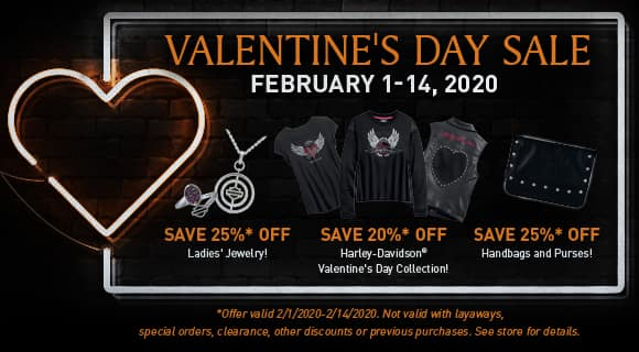 valentines day sale, february 1-14, 25% off jewelry, 20% off valentines day collection, 25% off handbags and purses. exclusions apply, see store for details.