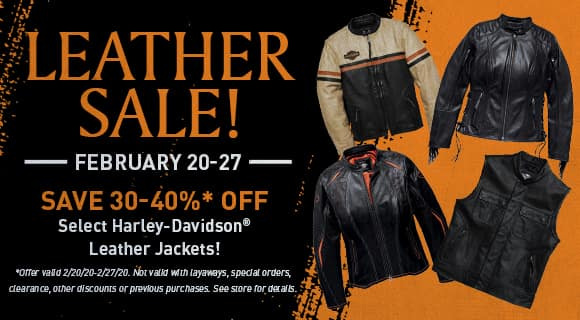 Leathers sale, 30-40% off select jackets, exclusions apply, see store for details